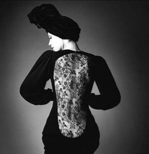 Marina Schiano, dress by Yves Saint Laurent, Paris
