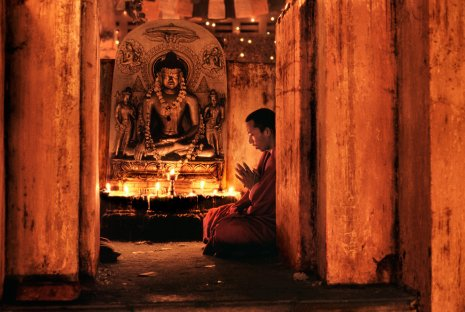 Monk praying at Bodh Gaya